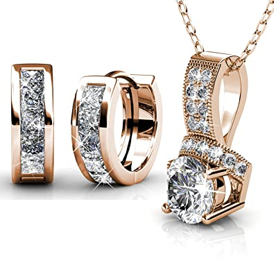 Amazoncom Women Jewelry Set VEAMOR Necklace Earrings Rose Gold