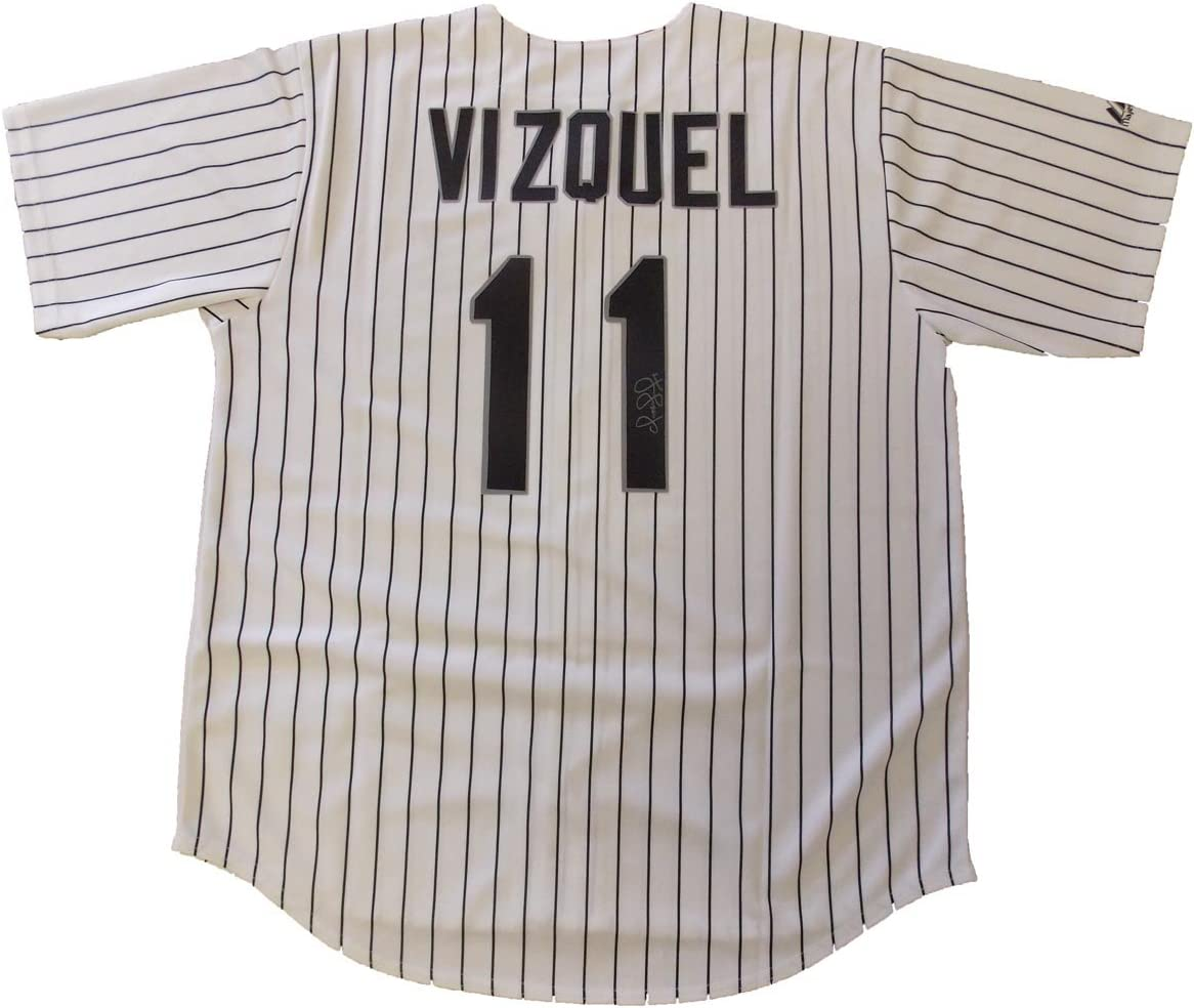B00CFPK3MI Omar Vizquel Autographed Chicago White Sox Jersey W/PROOF, Picture of Omar Signing For Us, Chicago White Sox, Cleveland Indians, Toronto Blue Jays, Hall Of Fame 71qZI2Bv6AL.SL1202_