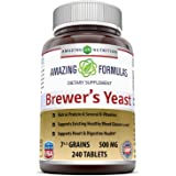 Amazing Nutrition Brewers Yeast Tablets, (Non-GMO,Gluten Free) For Healthy Digestion And Heart Health, 7.5 Grain Capsule 500m