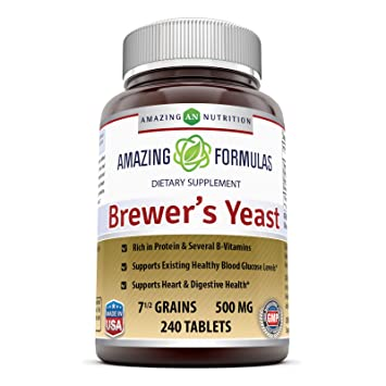 Amazing Nutrition Brewers Yeast Tablets - 7.5 Grain Capsule 500mg 240 Tablets - Supports Healthy Digestion