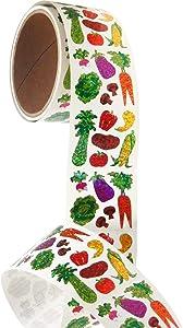 Bulk Roll Prismatic Stickers, Mini Vegetables (50 Repeats)