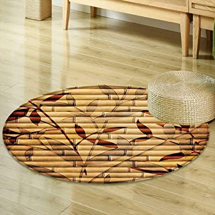 Round Rug Kid Carpet Beige Decor Decorative Bamboo Stems And Leaf Figures Over It Spiritual Asian