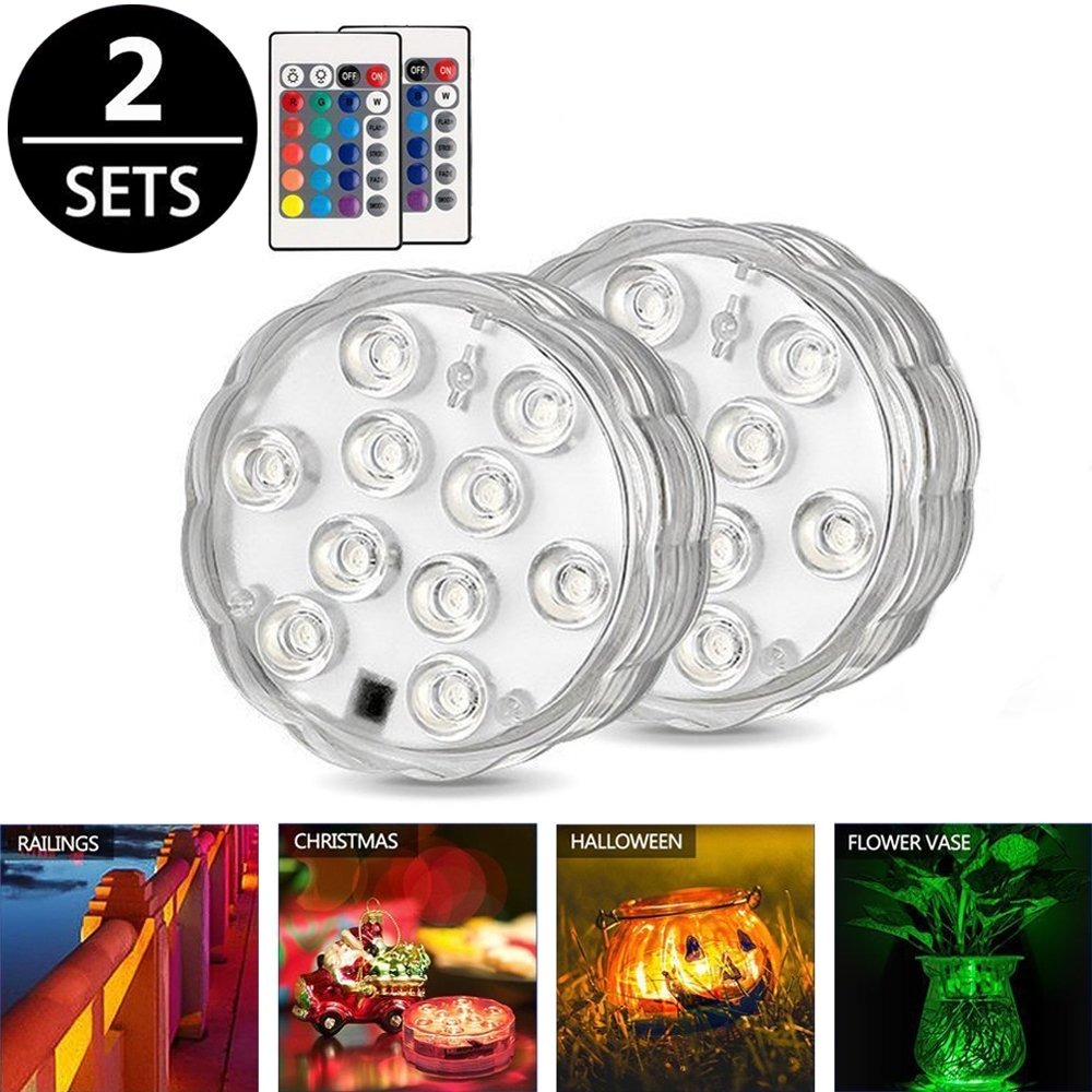 Underwater Lights, Submersible LED Lights, Waterproof RGB Pond Light Remote Control, Battery Powered Water Decoration Lights for Swimming Pool, Fish Bowl, Wedding, Party, Vase Base, 2 Pack