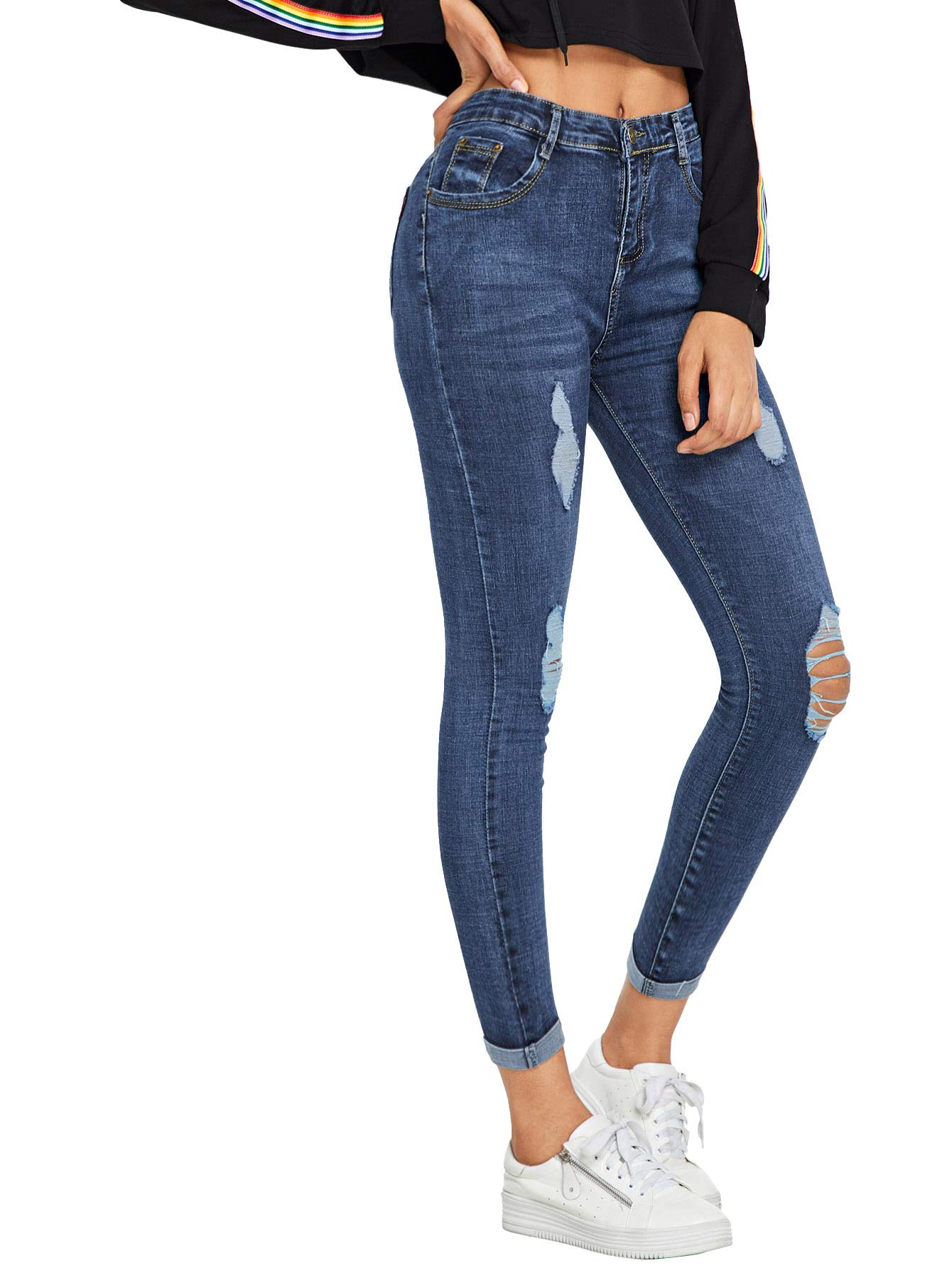 Floerns Women's Ripped Skinny Jeans Navy M