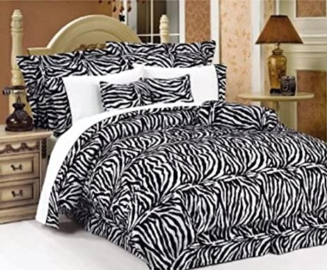 Charming Legacy Decor 7 PC Black And White Zebra Print Faux Fur, Queen Size  Comforter Bedding