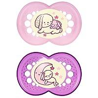 """MAM 110522 - Ciuccio """"Night"""" in lattice per bambine dai 6 ai 16 mesi, senza BPA, confezione doppia, colori assortiti"""