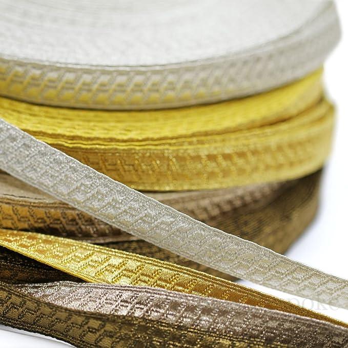 5 Yards of Morrow 1 Geometric Bullion Braid Trim Yellow Gold