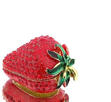 Caja con forma de fresas Bejeweled esmalte peltre caja 2,5 ...