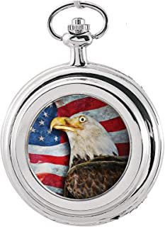 product image for Coin Pocket Watch with American Bald Eagle Colorized JFK Half Dollar | Genuine U.S. Coin | Quartz Movement, Sweeping Second Hand, Roman Numerals | Silvertone Case | Certificate of Authenticity