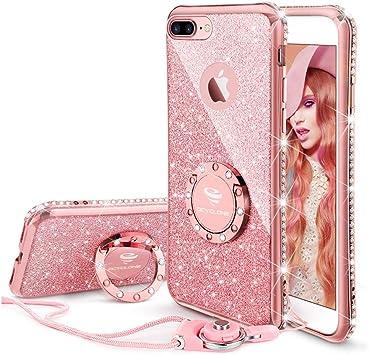 OCYCLONE Funda para iPhone 7 Plus/8 Plus,Purpurina Ultra Slim Soft TPU Fundas con Dimantes Anillo Movil Protector iPhone 7 Plus/8 Plus para Mujer,Oro Rosa: Amazon.es: Electrónica