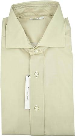 Marco Bracci el Hombre de La Camisa de Color Beige de Algodón de Sarga Spread Collar - 16½ 42: Amazon.es: Ropa y accesorios