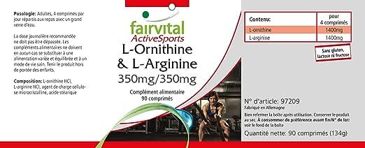 L-ornitina y L-arginina 350 mg / 350 mg - - durante 22 días - VEGAN - ALTA DOSIS - 90 comprimidos - Amino Acids: Amazon.es: Salud y cuidado personal