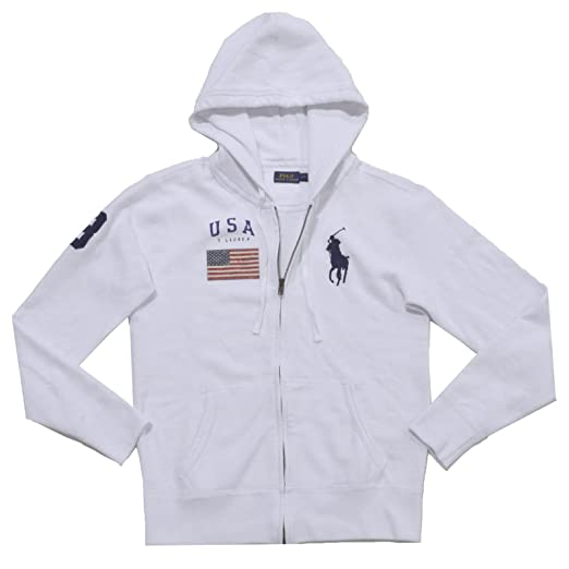 Polo Ralph Lauren Womens Full-Zip Big Pony Hoodie Sweatshirt (XS, White) 52bac77935
