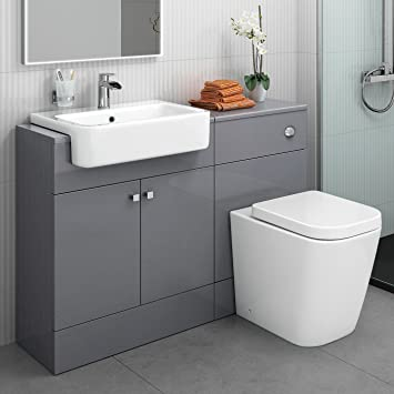 Delicieux Designer Gloss Grey Basin Sink Toilet Pan WC Bathroom Rimless Combined  Vanity Unit Furniture Storage