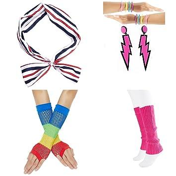 80s Headband Wristbands And Legwarmers Set Women Fancy Dress Costume Accessories