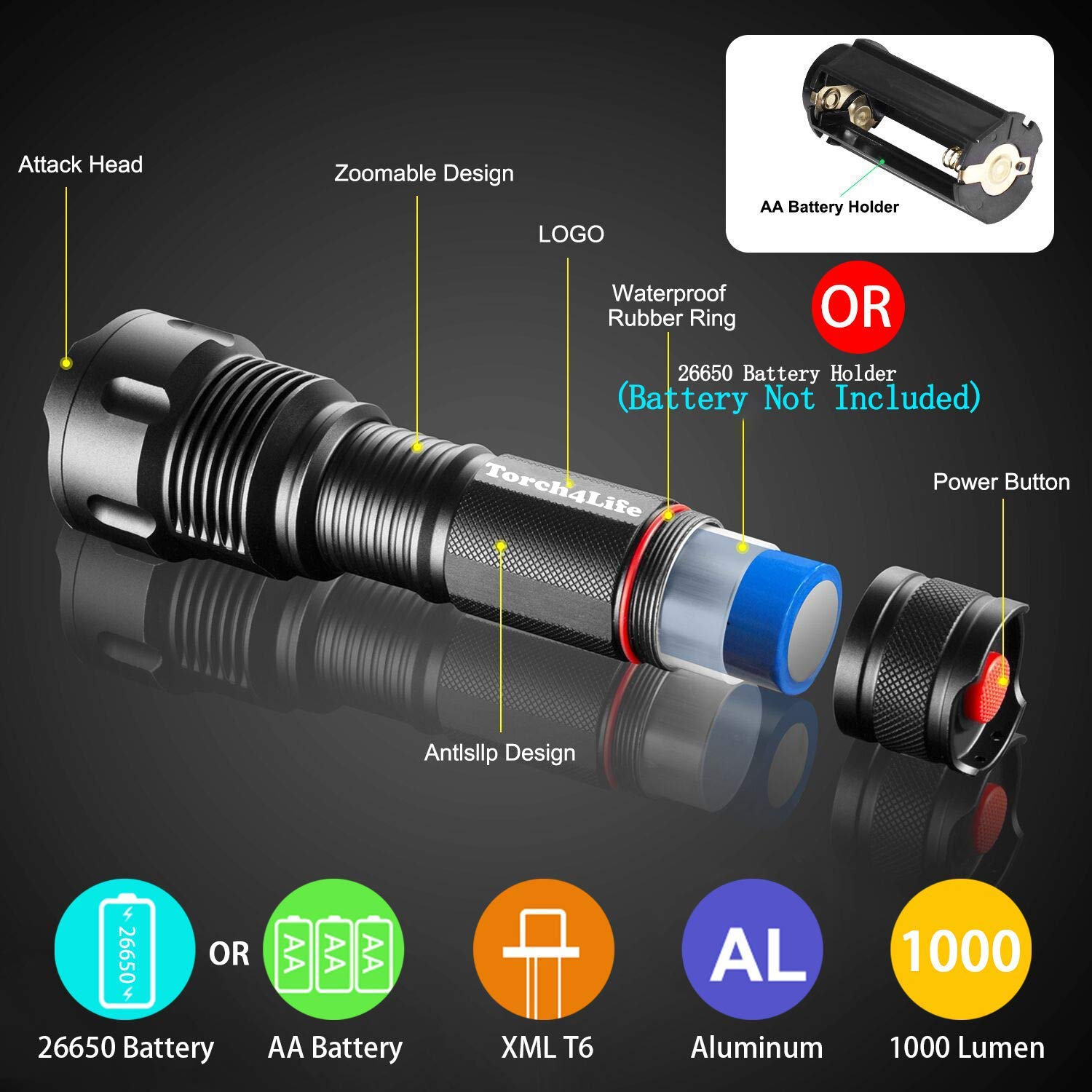 Unbreakable and Water Resistant Torch4Life -Tactical Military Aluminium Torch LED Flashlight by Brand of Wolves- Super Bright Powerful Lumen Adjustable 3 Zoom Mode Focus Pointer- 1 yr Warranty