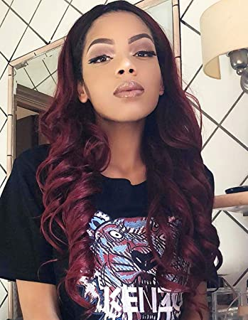 K Ryssma Ombre Burgundy Synthetic Wig Long Natural Wavy Black Roots To 99j Deep Wine Red Ombre
