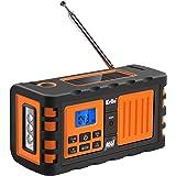 Kello TK-669G Emergency Solar Hand Crank Weather Alert Radio AM/FM/SW/All Hazard Public Alert NOAA Certified Radio with LED Flashlight, Cell Phone Charger and Alarm Clock (Orange)