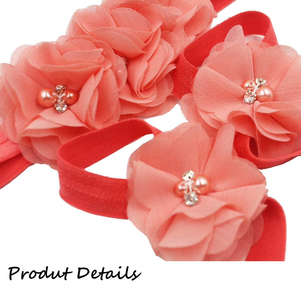 Packed with 6 set Baby Girls Beautiful Flower Headbands and Baby Barefoot Sandals Flower set from CellElection
