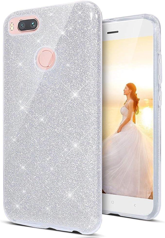 "Image ofCoovertify Funda Purpurina Brillante Plateada Huawei P Smart, Carcasa Resistente de Gel Silicona con Brillo Gris Plata para Huawei P Smart (5,65"")"