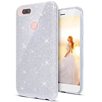 Coovertify Funda Purpurina Brillante Plateada Xiaomi Redmi 6, Carcasa Resistente de Gel Silicona con Brillo Gris Plata para Xiaomi Redmi 6 (5,45