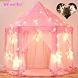 Wilwolfer Princess Tent Large Castle Playhouse for Children Indoor and Outdoor Games Hexagon Kids Play Tent with 17 Feet 50 Star Lights (Pink)