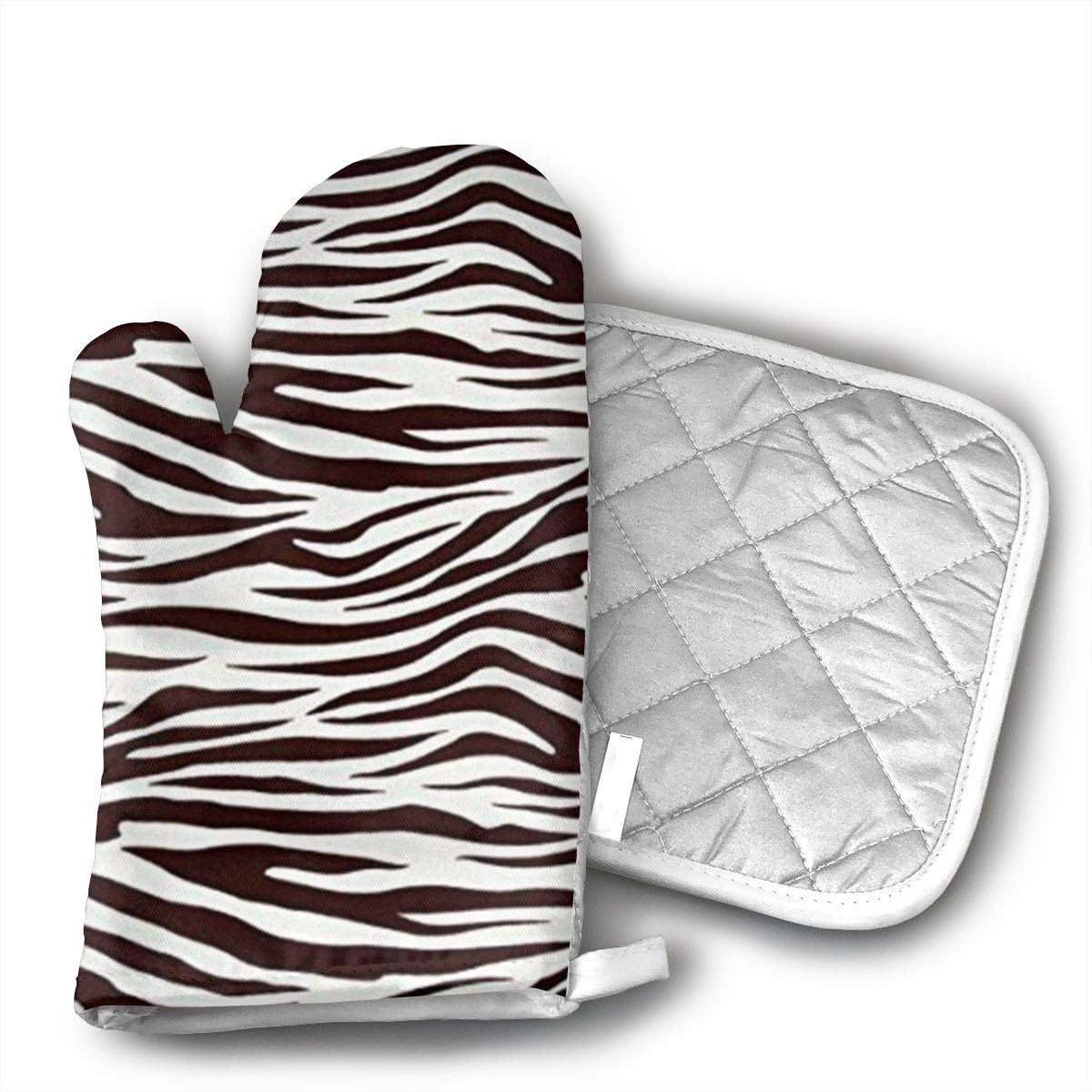 Metro Living Zebra Chocolate Oven Mitts and Pot Covers 100% Cotton