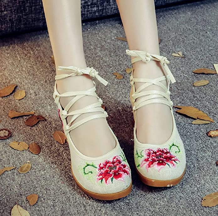 Tianrui Crown Women And Ladies Embroidery flower Flats Shoes sandals:  Amazon.ca: Shoes & Handbags