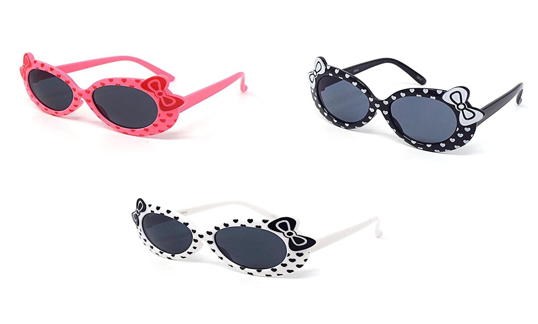 1 x noir 1 x rose 1 x blanc couleur enfants enfants filles élégant style design mignon lunettes de soleil de haute qualité avec un arc et le cœur de style UV400
