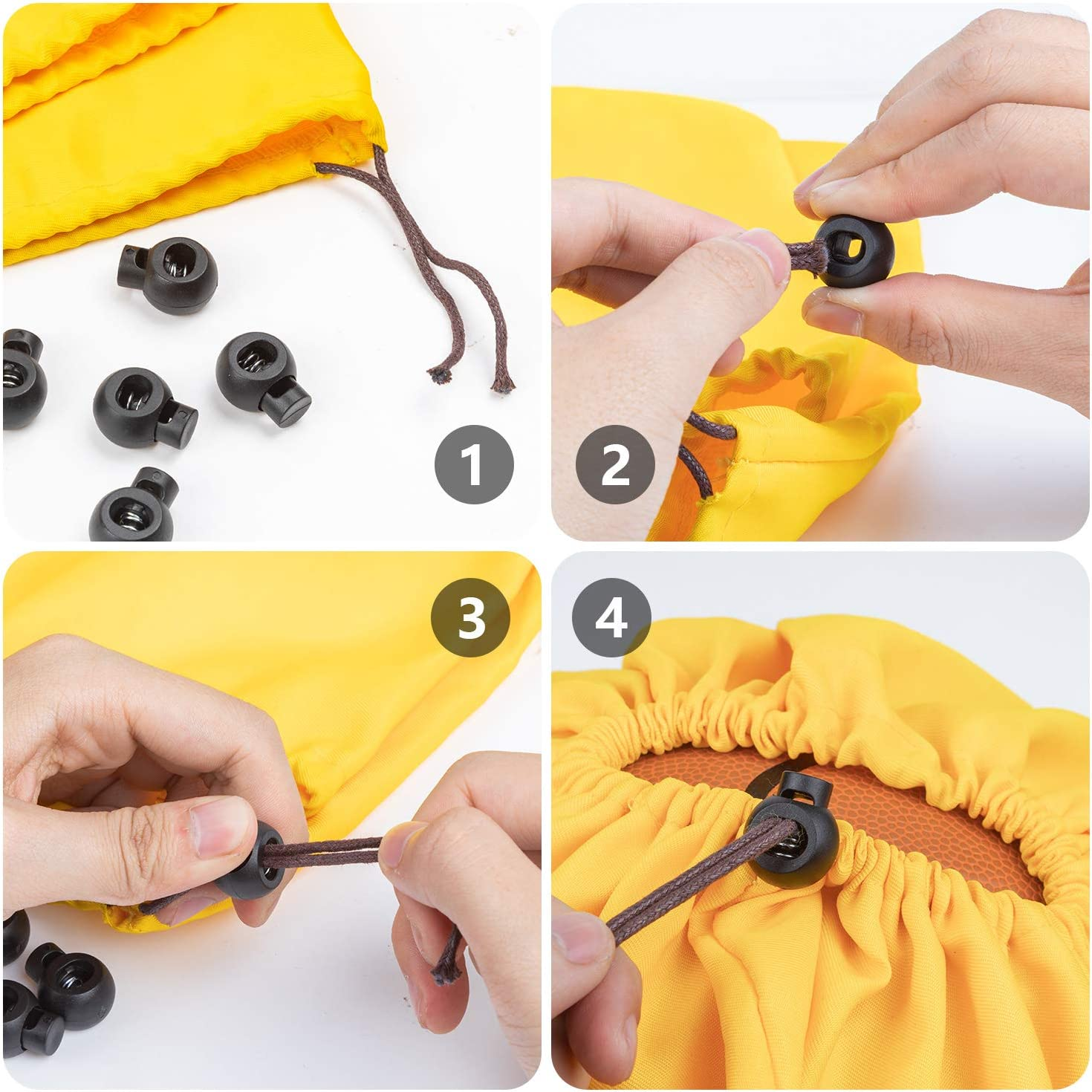 160 Pieces FFNIU Plastic Cord Lock Single Hole Spring Toggle Stopper Cord Rope End for Drawstrings and Paracord 10 Colors