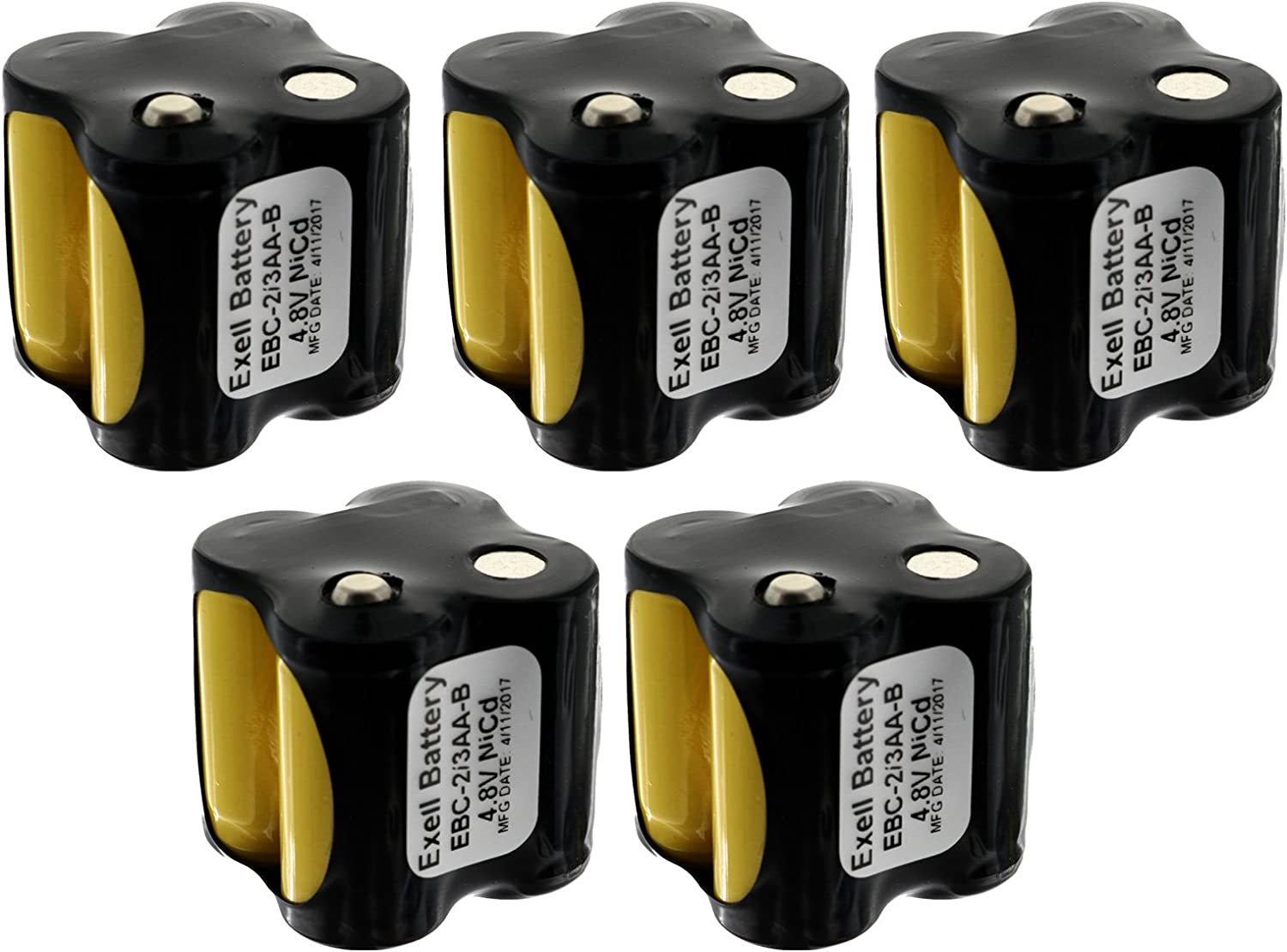 5x Exell Custom 4.8V 400 mAh 4x2//3AA Square Battery Pack with Button Top