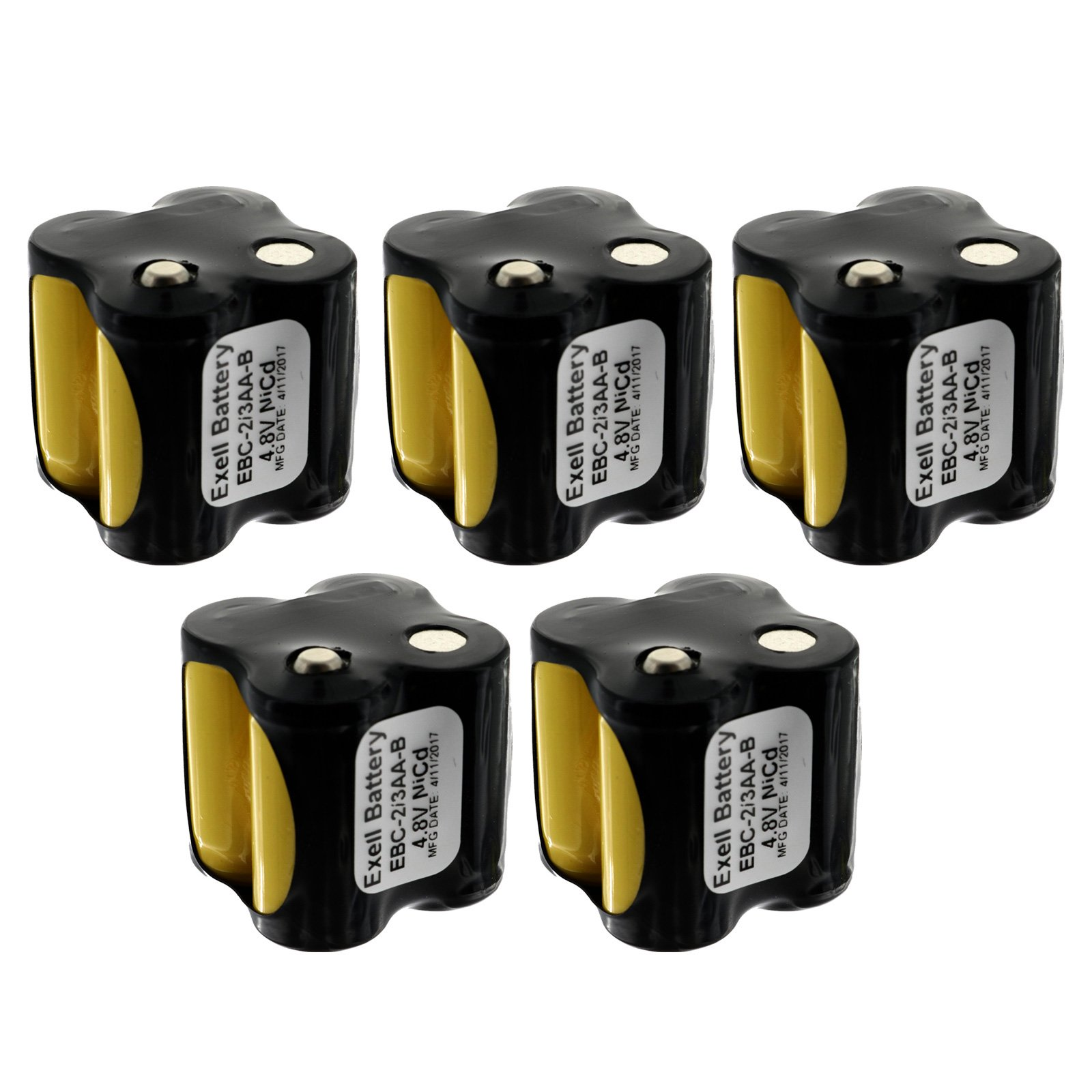 5x Exell Custom 4.8V 400 mAh 4x2/3AA Square Battery Pack with Button Top