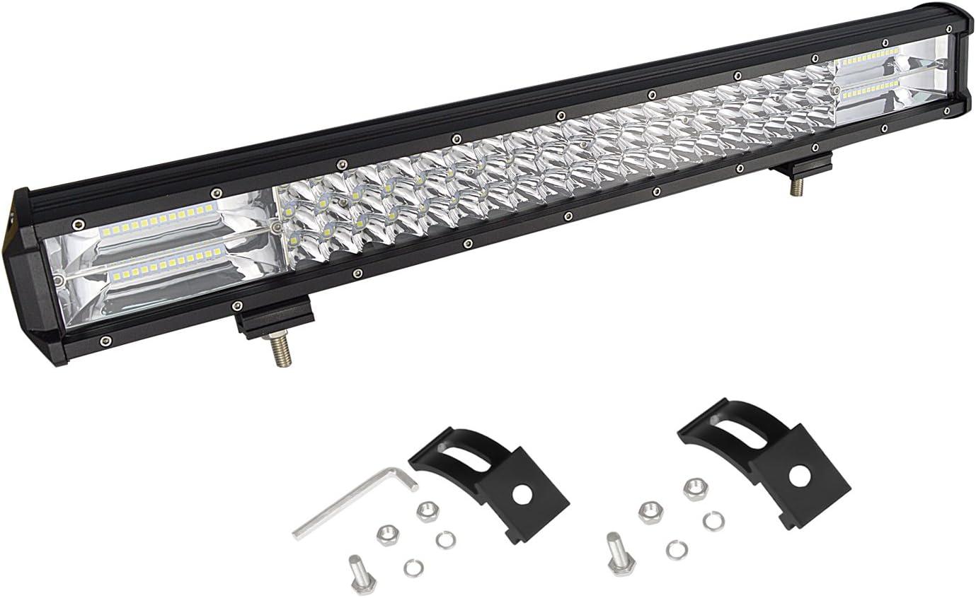 AUXTINGS 22 inch 324W Triple fila 7D LED luz de trabajo Barra Spot Flood Combo Beam DC 12V-24V 6000k vehículos todoterreno 4x4 Atvs Utvs