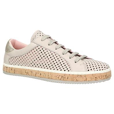 komood 333 Damen Sommer Sneaker Leder Schuh Freizeit Metallic Lochmuster Atmungsaktiv, Schuhgröße:37, Farbe:Grau ZWEIGUT