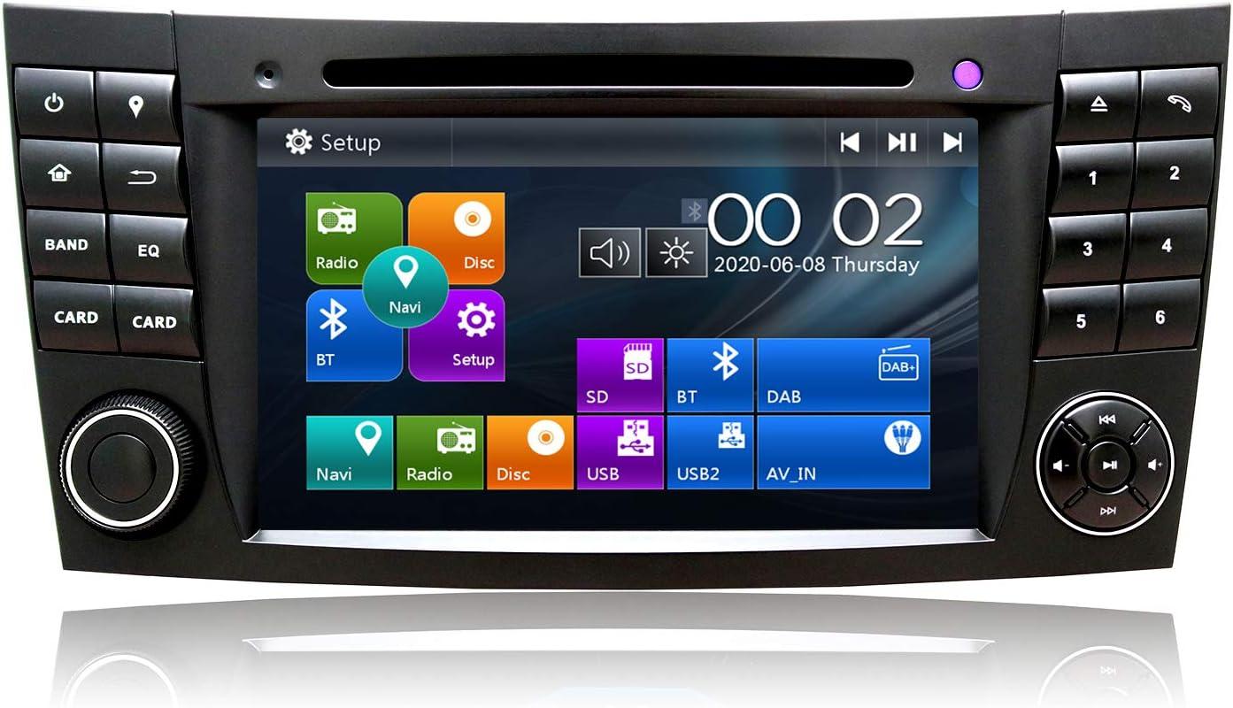 Swtnvin Autoradio Stereo Passend Für Mercedes Benz E Klasse W211 Cls W219 Im Armaturenbrett 7 Inch Hd Touch Screen Gps Navigator Doppel Din Haupteinheit Unterstützt Video Bluetooth Swc Dvd Player Fm Navigation