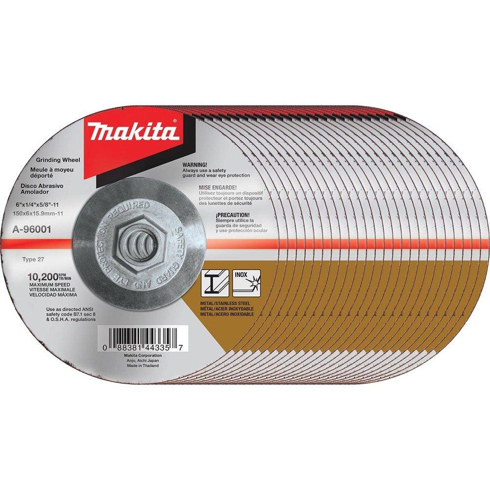 Makita A-96001-25 36 Grit Hubbed INOX Grinding Wheel (Pack of 25), 6'' x 1/4'' x 5/8''-11''
