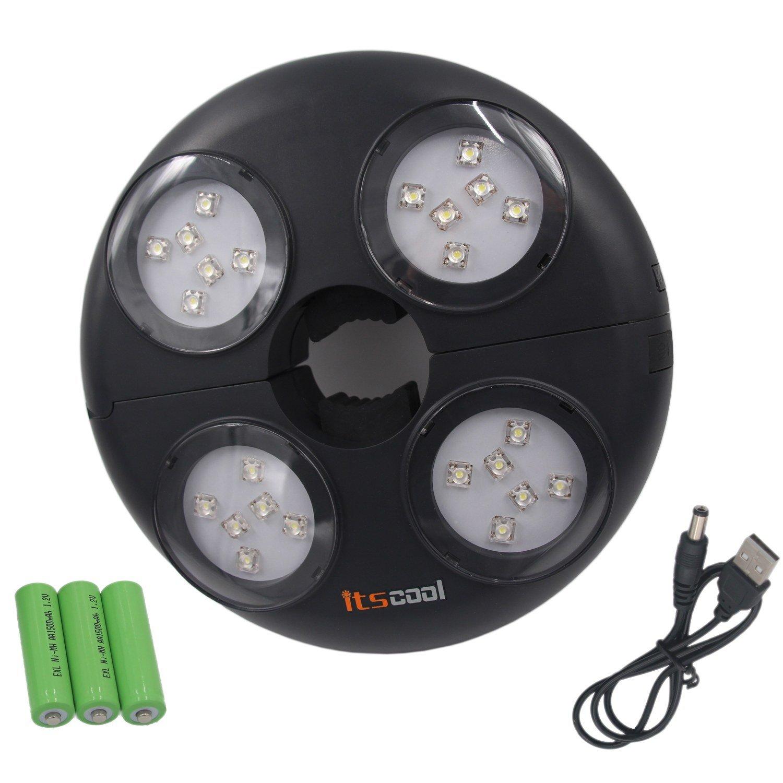 Umbrella Light, Itscool Umbrella Lights 24 LED High Brightness Rechargeable 4500mAh Battery 280 Lumens for Gargen Umbrella Lighting