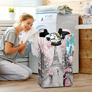 Paris Eiffel Tower Lovers Large Laundry Baskets Washing Hamper Bag Pink Tree Flower Dirty Clothes Storage Bin Toy Book Clothing Holder with Handles for Home Bathroom Bedroom 50L
