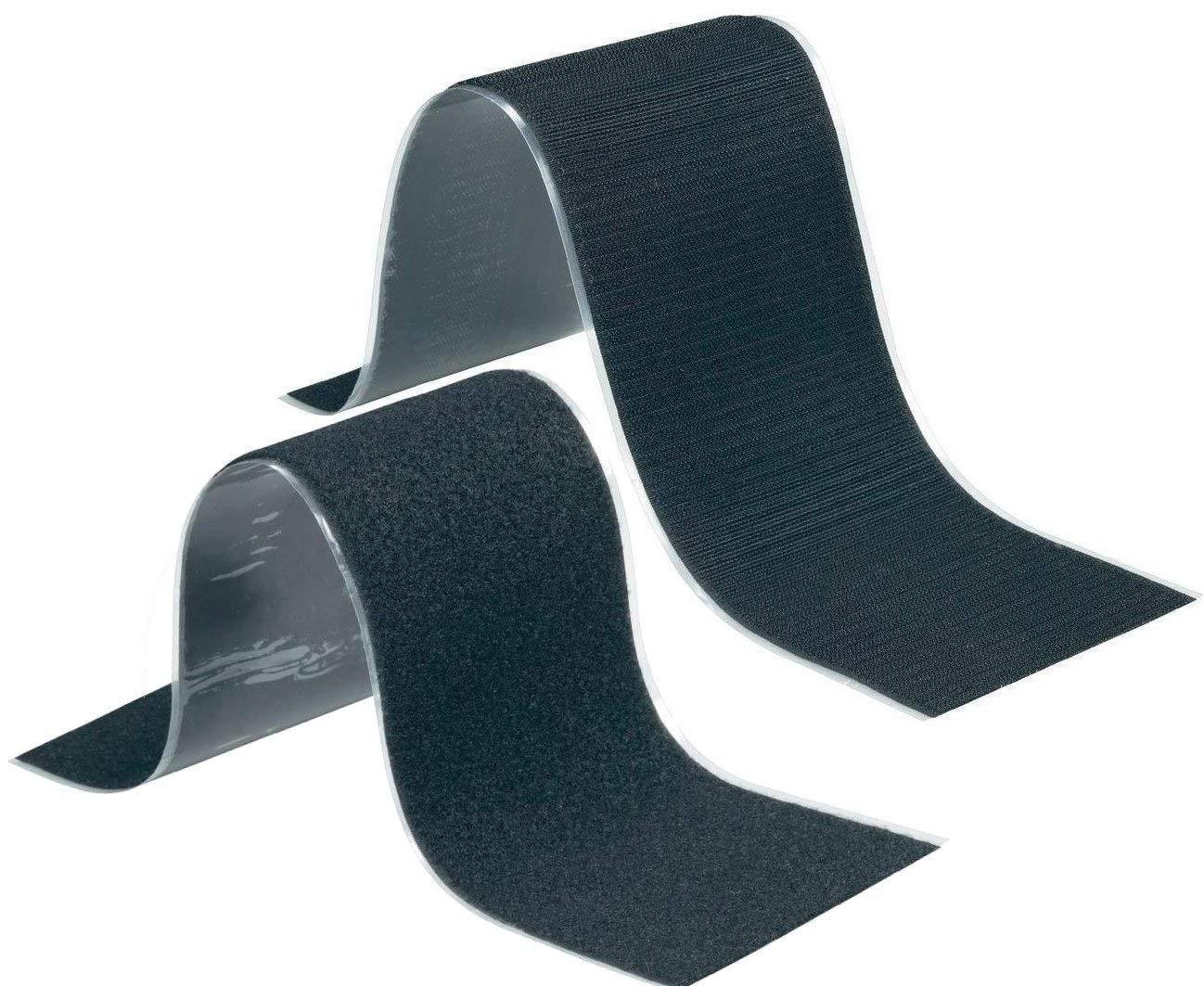 Set bande velcro autocollante noir, partie velours et partie crochets, super puissant pour accrocher et fixer, aussi pour accrocher les plaques d'immatriculation, porte-outils 10,7 x 50 cm aussi pour accrocher les plaques d' immatriculation FASTECH