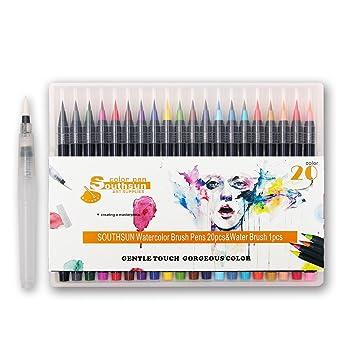 20 FARBEN Aquarell Pinsel Marker Pen, Soft Flexible Spitze und ...
