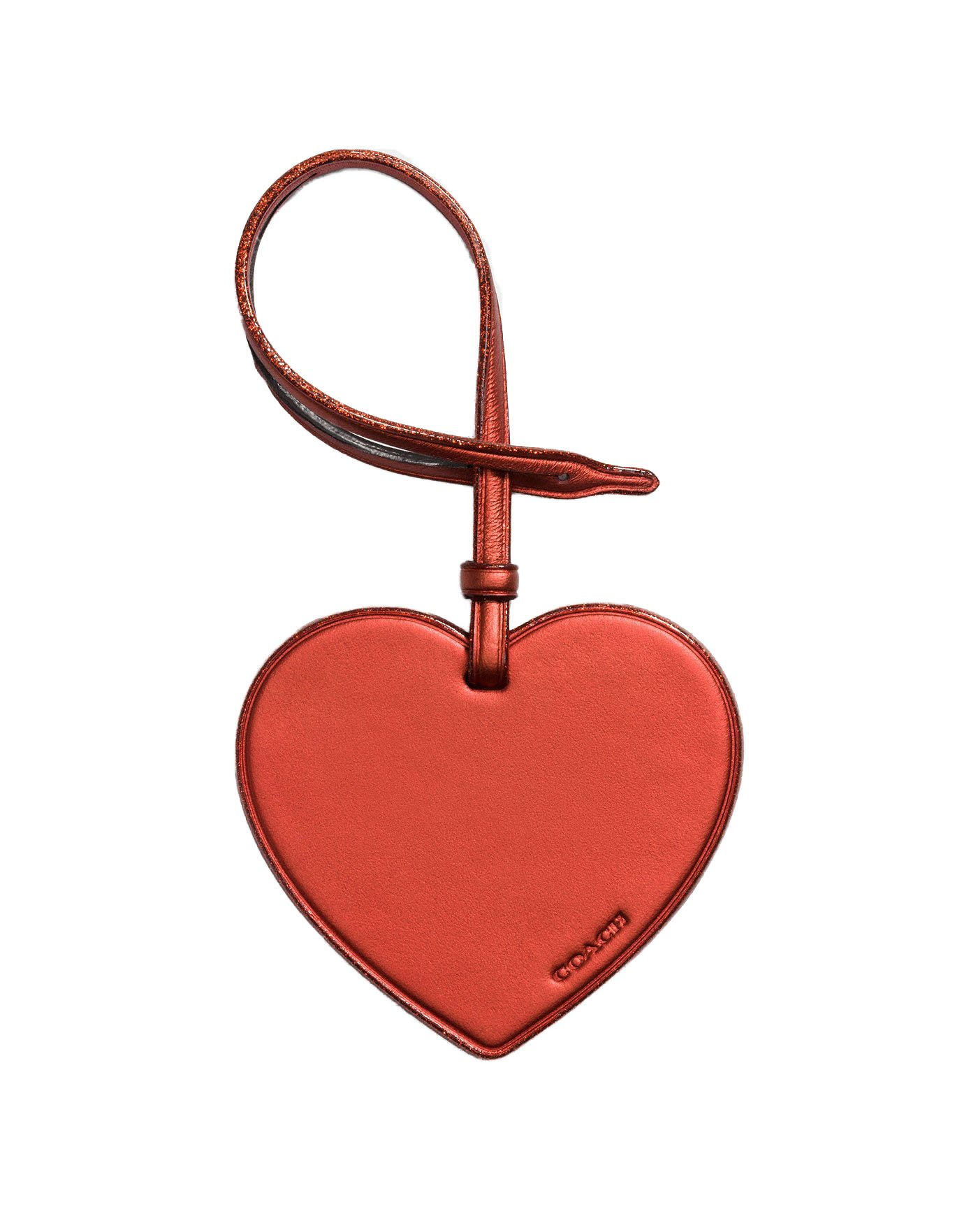 Coach Leather Heart Hang Tag Medallion (Metallic Brick)