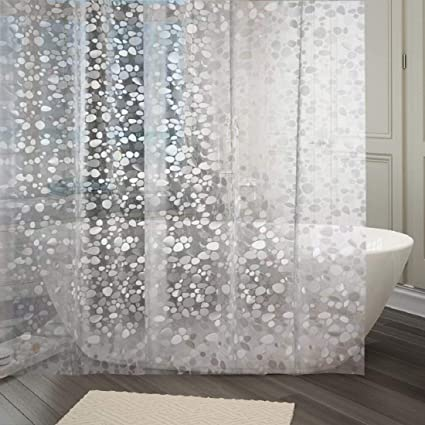 Star Bazaar PVC Shower Curtain with 8 Rings - 7ft, White.