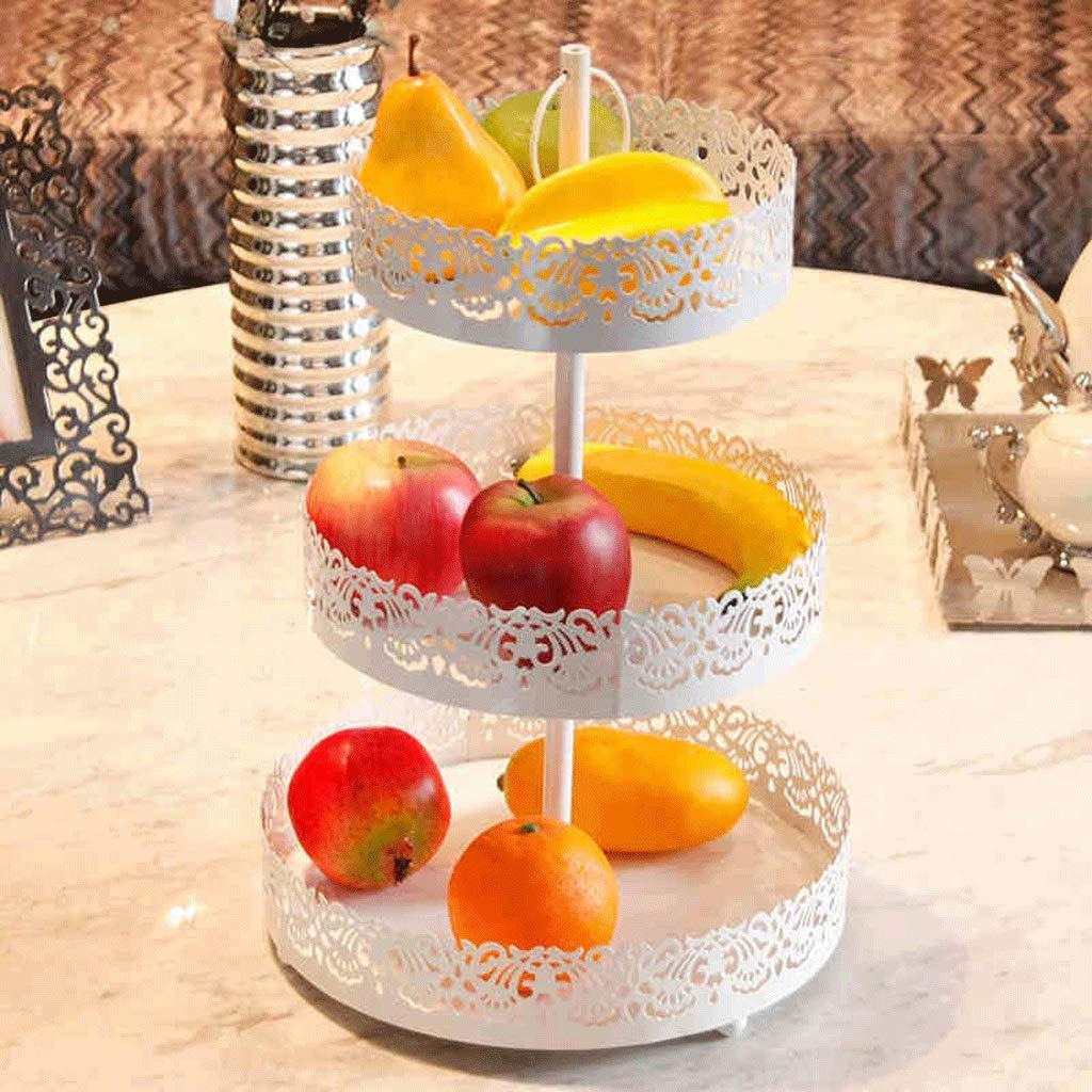SLH 創造的な果物の皿ヨーロッパのスタイルの居間3つの層フルーツバスケット鉄のフルーツバスケットホームデコレーションラージバスケット   B07GR5PQV4