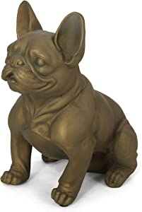 Christopher Knight Home Susan Outdoor French Bulldog Garden Statue, Rustic Gold