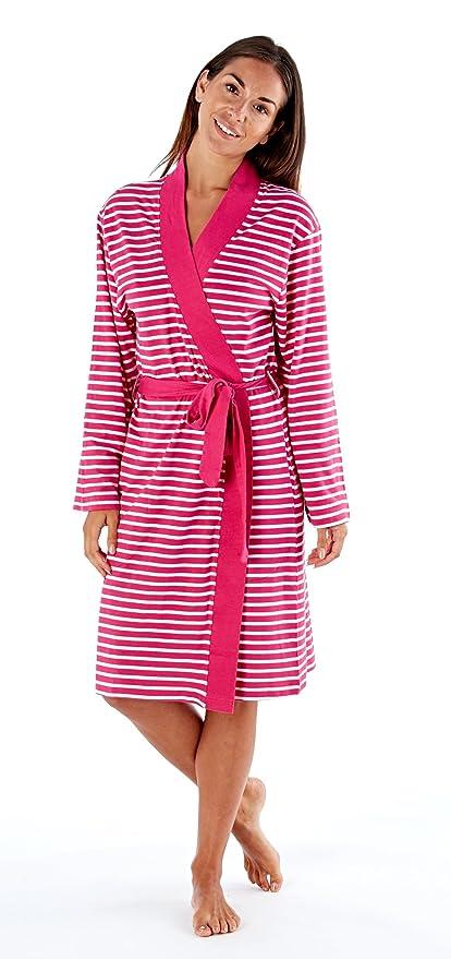 c3480d3bc59 SST-UK Ladies Soft Jersey Kimono Wrap Cotton Striped Dressing Gown Summer  Bath Robe House