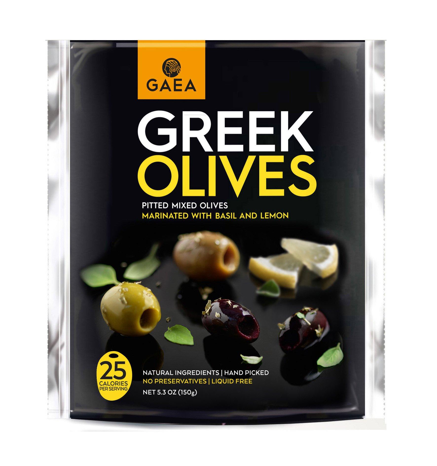 Gaea Mixed Olives with Basil & Lemon Juice Snack Packs - 5.3 oz (Pack of 8)