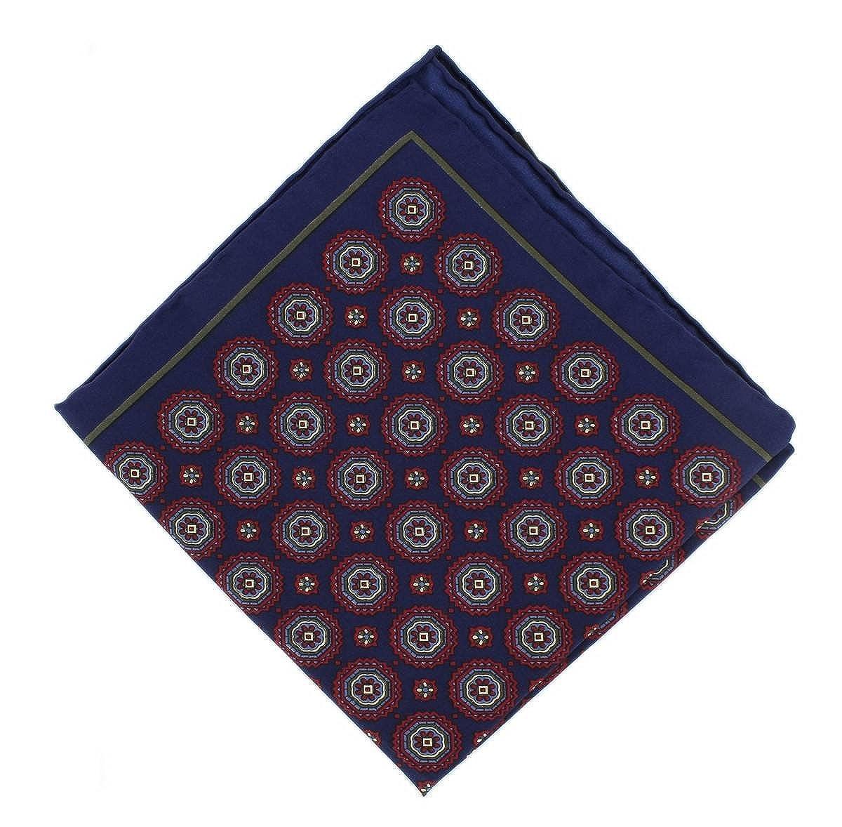 Navy Michelsons of London Mens Vintage Medallion Silk Pocket Square