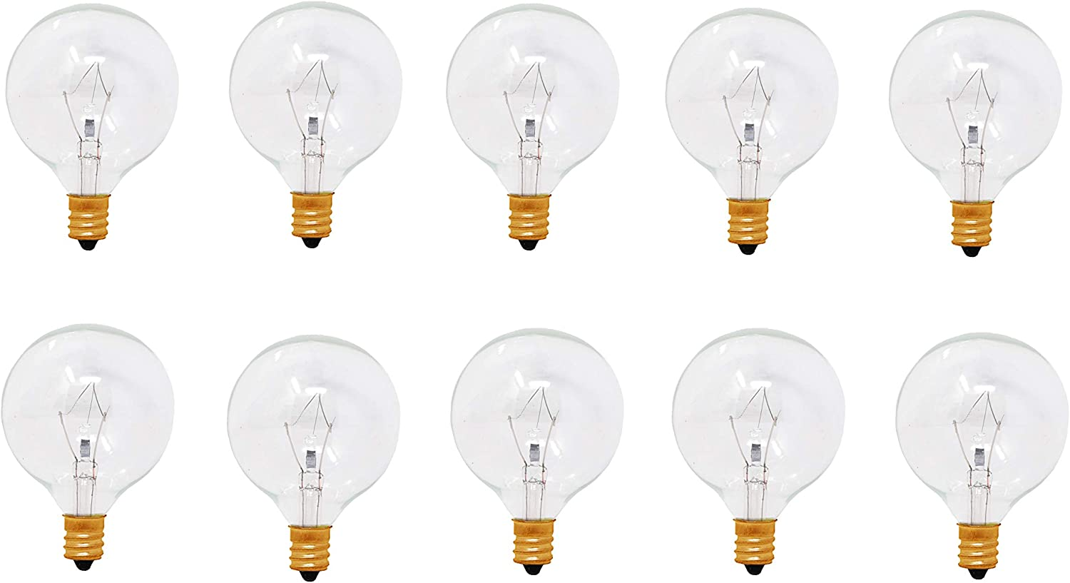Mandala Crafts Replacement Light Bulbs for Scent Wax Warmer, Candle Melt, Fragrance Burner, Oil Diffuser, Lamp, E12,120v 40-Watt G16.5, 10 Pack