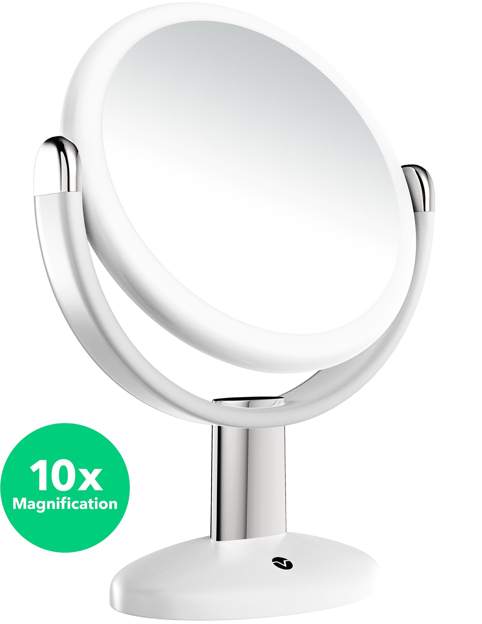 Vremi 10x Magnified Vanity Mirror - 7 Inch Round Makeup Cosmetic Mirror for Bathroom or Bedroom Table Top - Portable Double Sided Glass Mirror Stand with 360 Degree Swivel - White