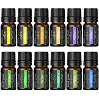 Anjou Essential Oils Set, Top 12 100% Pure Aromatherapy Secented Oil Kit, 12 x 5 ml (Lavender, Sweet Orange, Peppermint, Tea Tree, Eucalyptus, Lemongrass, Bergamot, Frankincense etc.)